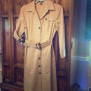 Classic, button down, khaki, knee length dress,